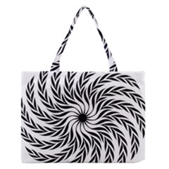 Spiral Leafy Black Floral Flower Star Hole Zipper Medium Tote Bag by Mariart