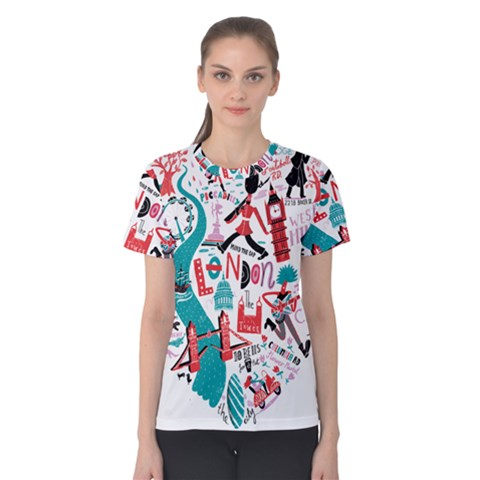 London Illustration City Women s Cotton Tee by Mariart