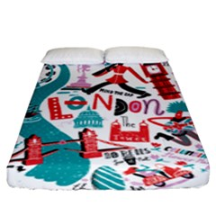 London Illustration City Fitted Sheet (king Size) by Mariart