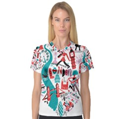 London Illustration City V Neck Sport Mesh Tee by Mariart