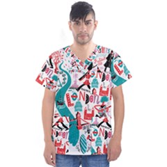 London Illustration City Men s V Neck Scrub Top