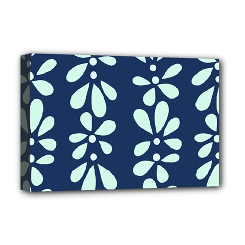 Star Flower Floral Blue Beauty Polka Deluxe Canvas 18  X 12   by Mariart