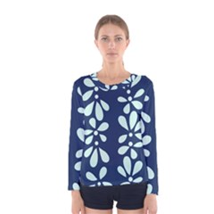 Star Flower Floral Blue Beauty Polka Women s Long Sleeve Tee by Mariart