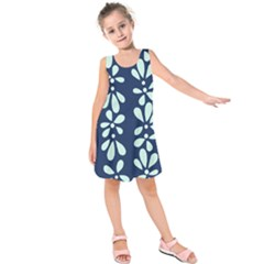 Star Flower Floral Blue Beauty Polka Kids  Sleeveless Dress by Mariart