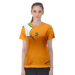 Star Line Orange Green Simple Beauty Cute Women s Sport Mesh Tee by Mariart