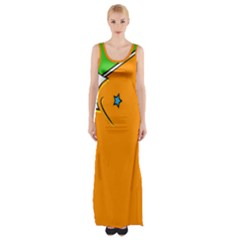 Star Line Orange Green Simple Beauty Cute Maxi Thigh Split Dress