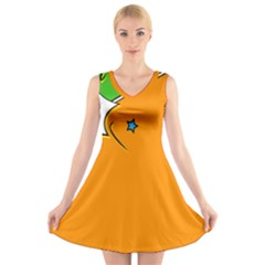 Star Line Orange Green Simple Beauty Cute V-neck Sleeveless Skater Dress