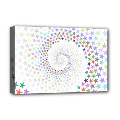 Prismatic Stars Whirlpool Circlr Rainbow Deluxe Canvas 18  X 12   by Mariart