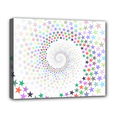 Prismatic Stars Whirlpool Circlr Rainbow Deluxe Canvas 20  X 16   by Mariart