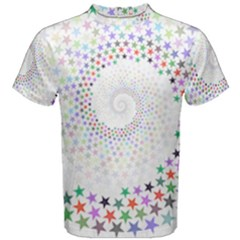Prismatic Stars Whirlpool Circlr Rainbow Men s Cotton Tee by Mariart