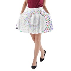 Prismatic Stars Whirlpool Circlr Rainbow A Line Pocket Skirt