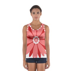 Sunflower Flower Floral Red Sport Tank Top  by Mariart