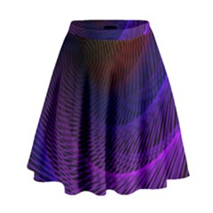 Striped Abstract Wave Background Structural Colorful Texture Line Light Wave Waves Chevron High Waist Skirt by Mariart