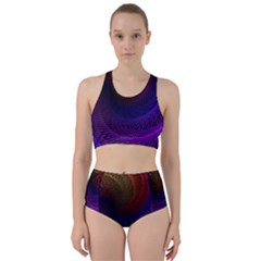 Striped Abstract Wave Background Structural Colorful Texture Line Light Wave Waves Chevron Racer Back Bikini Set by Mariart