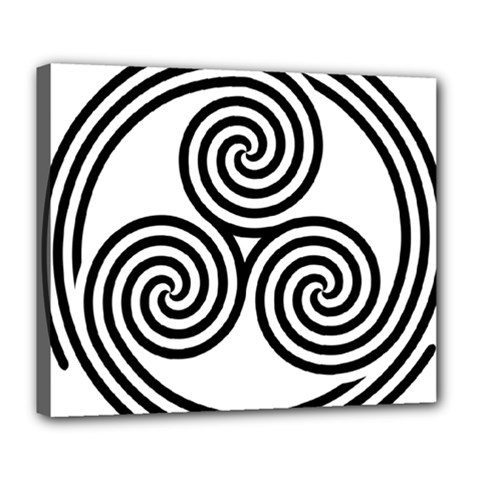 Triple Spiral Triskelion Black Deluxe Canvas 24  X 20   by Mariart