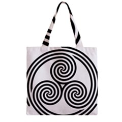 Triple Spiral Triskelion Black Zipper Grocery Tote Bag