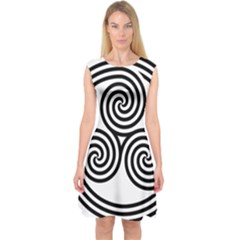 Triple Spiral Triskelion Black Capsleeve Midi Dress by Mariart