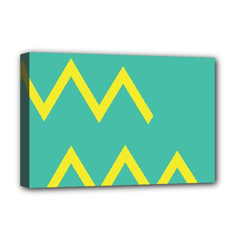Waves Chevron Wave Green Yellow Sign Deluxe Canvas 18  X 12
