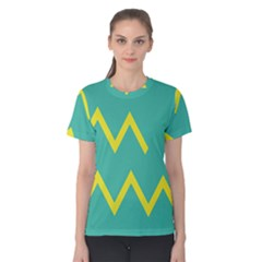 Waves Chevron Wave Green Yellow Sign Women s Cotton Tee by Mariart