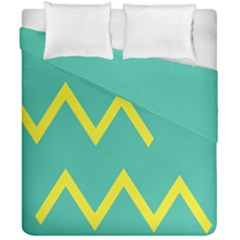 Waves Chevron Wave Green Yellow Sign Duvet Cover Double Side (california King Size) by Mariart
