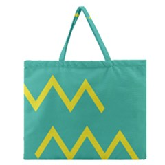 Waves Chevron Wave Green Yellow Sign Zipper Large Tote Bag by Mariart
