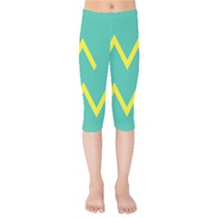 Waves Chevron Wave Green Yellow Sign Kids  Capri Leggings  by Mariart