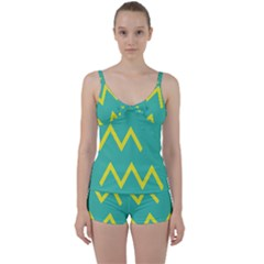 Waves Chevron Wave Green Yellow Sign Tie Front Two Piece Tankini