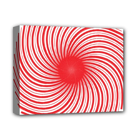 Spiral Red Polka Star Deluxe Canvas 14  X 11  by Mariart