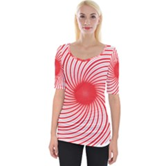 Spiral Red Polka Star Wide Neckline Tee by Mariart
