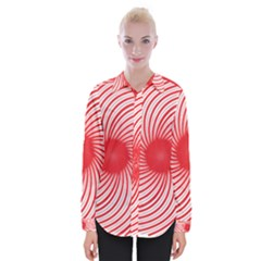 Spiral Red Polka Star Womens Long Sleeve Shirt