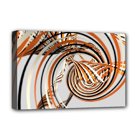 Splines Line Circle Brown Deluxe Canvas 18  X 12   by Mariart