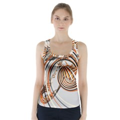 Splines Line Circle Brown Racer Back Sports Top