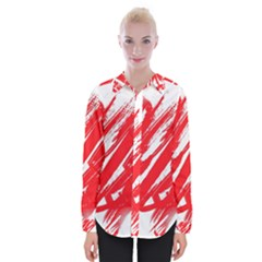 Valentines Day Heart Modern Red Polka Womens Long Sleeve Shirt