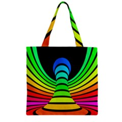 Twisted Motion Rainbow Colors Line Wave Chevron Waves Zipper Grocery Tote Bag by Mariart
