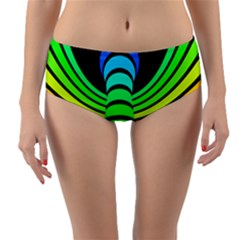 Twisted Motion Rainbow Colors Line Wave Chevron Waves Reversible Mid-waist Bikini Bottoms