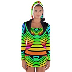 Twisted Motion Rainbow Colors Line Wave Chevron Waves Long Sleeve Hooded T-shirt by Mariart