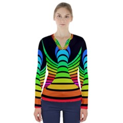 Twisted Motion Rainbow Colors Line Wave Chevron Waves V Neck Long Sleeve Top