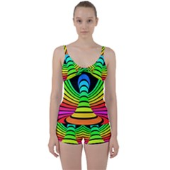 Twisted Motion Rainbow Colors Line Wave Chevron Waves Tie Front Two Piece Tankini
