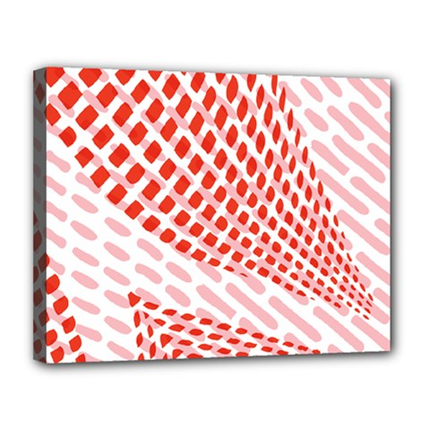 Waves Wave Learning Connection Polka Red Pink Chevron Canvas 14  X 11  by Mariart