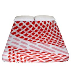 Waves Wave Learning Connection Polka Red Pink Chevron Fitted Sheet (queen Size) by Mariart