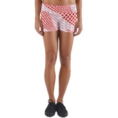 Waves Wave Learning Connection Polka Red Pink Chevron Yoga Shorts by Mariart