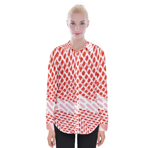 Waves Wave Learning Connection Polka Red Pink Chevron Womens Long Sleeve Shirt by Mariart