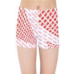 Waves Wave Learning Connection Polka Red Pink Chevron Kids Sports Shorts by Mariart