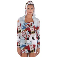 Funny Santa Claus With Snowman Long Sleeve Hooded T Shirt by FantasyWorld7