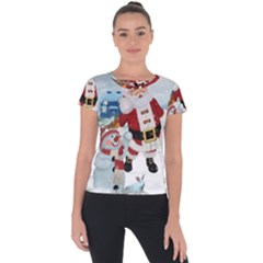Funny Santa Claus With Snowman Short Sleeve Sports Top  by FantasyWorld7