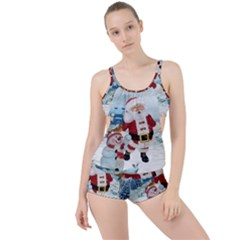 Funny Santa Claus With Snowman Boyleg Tankini Set  by FantasyWorld7