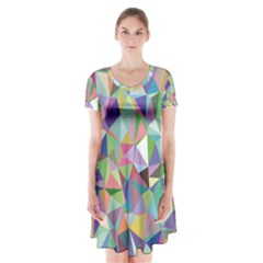 Mosaic Pattern 5 Short Sleeve V-neck Flare Dress by tarastyle