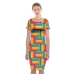 Soft Spheres Pattern Classic Short Sleeve Midi Dress by linceazul