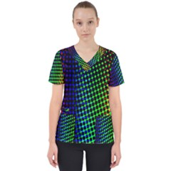 Digitally Created Halftone Dots Abstract Background Design Scrub Top