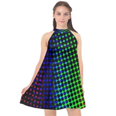Digitally Created Halftone Dots Abstract Background Design Halter Neckline Chiffon Dress